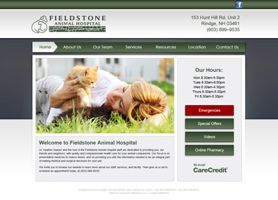 custom veterinary website design